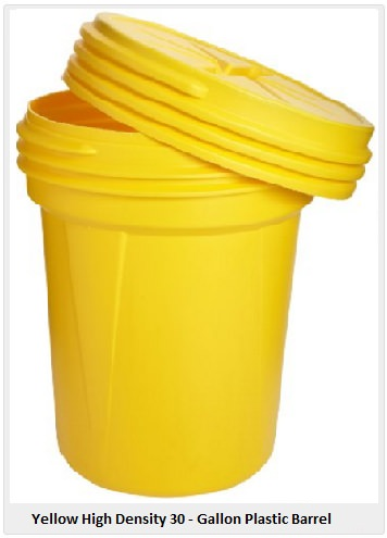 Yellow density plastic drum